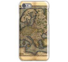 Antique Map of Europe, by Abraham Ortelius, circa 1570 iPhone Case/Skin