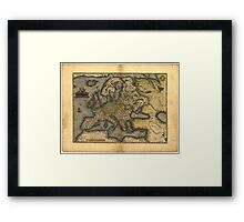 Antique Map of Europe, by Abraham Ortelius, circa 1570 Framed Print