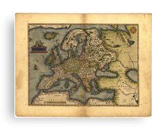 Antique Map of Europe, by Abraham Ortelius, circa 1570 Canvas Print