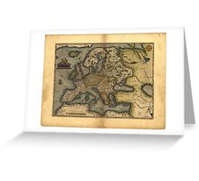 Antique Map of Europe, by Abraham Ortelius, circa 1570 Greeting Card