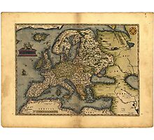 Antique Map of Europe, by Abraham Ortelius, circa 1570 Photographic Print