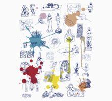History of Art (blue artlines, w/ paint splashes) Kids Clothes