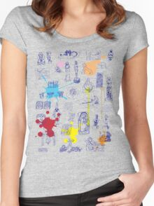 History of Art (blue artlines, w/ paint splashes) Women's Fitted Scoop T-Shirt