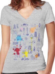 History of Art (blue artlines, w/ paint splashes) Women's Fitted V-Neck T-Shirt