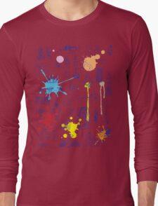 History of Art (blue artlines, w/ paint splashes) Long Sleeve T-Shirt