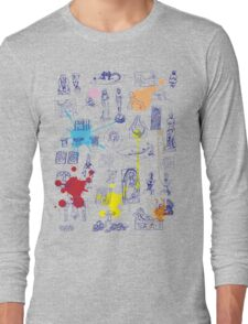 History of Art (blue artlines, w/ paint splashes) Long Sleeve T-Shirt
