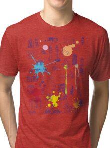 History of Art (blue artlines, w/ paint splashes) Tri-blend T-Shirt