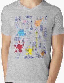 History of Art (blue artlines, w/ paint splashes) Mens V-Neck T-Shirt