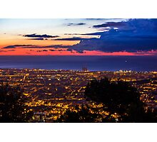 Sunrise over Barcelona, Spain Photographic Print