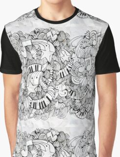 Pencil Drawing, Music, Keyboard, Stars Graphic T-Shirt