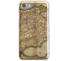 Antique Map of Spain, by Abraham Ortelius, circa 1570 iPhone Case/Skin