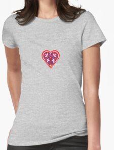 Folk heart 3 centre Womens Fitted T-Shirt