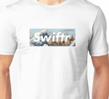 great wave off the mersey river (white text) Unisex T-Shirt
