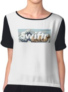 great wave off the mersey river (white text) Chiffon Top