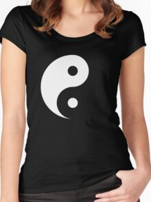 Yin and Yang - Negative Space Design White on Black Women's Fitted Scoop T-Shirt