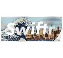 great wave off the mersey river (white text) Poster