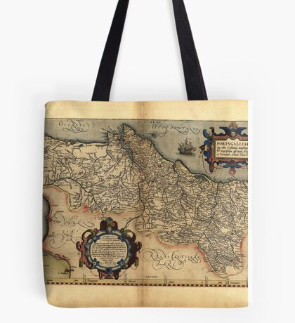 Antique Map of Portugal, by Abraham Ortelius, circa 1570 Tote Bag