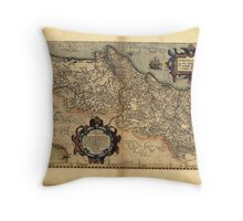 Antique Map of Portugal, by Abraham Ortelius, circa 1570 Throw Pillow