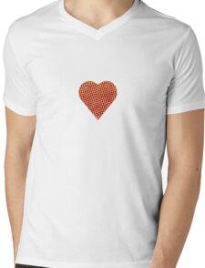 halftone heart Mens V-Neck T-Shirt