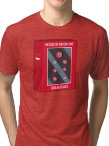 In Case of Adventure Break Glass - Pink Dice Tri-blend T-Shirt