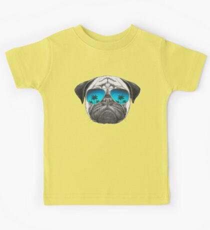 Pug Dog with sunglasses Kids Tee