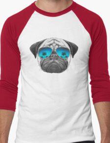 Pug Dog with sunglasses Men's Baseball ¾ T-Shirt