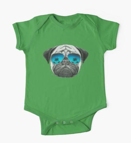 Pug Dog with sunglasses One Piece - Short Sleeve