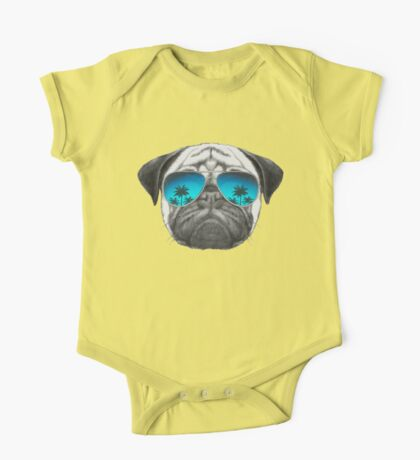 Pug Dog with sunglasses One Piece - Short Sleeve