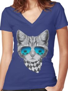 Cat with mirror sunglasses and scarf Women's Fitted V-Neck T-Shirt