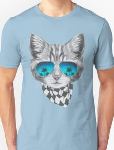 Cat with mirror sunglasses and scarf Unisex T-Shirt