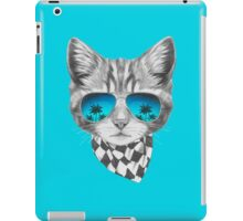 Cat with mirror sunglasses and scarf iPad Case/Skin