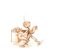 Robots Have Hobbies, colored drawing Photographic Print