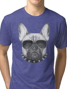 French Bulldog with collar and sunglasses Tri-blend T-Shirt