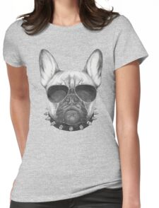 French Bulldog with collar and sunglasses Womens Fitted T-Shirt