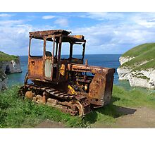 Rusty tractor at Flamborough North Landing Photographic Print
