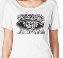 Calavera Catrina | Black and White | Day of the Dead | Dia de los Muertos Women's Relaxed Fit T-Shirt