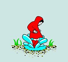 Girl in a Red Raincoat Splashing in a Puddle by LastLittleBird