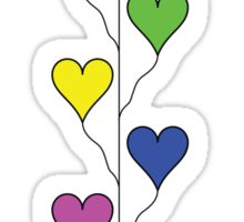 Seven Rainbow Colored Heart Balloons  Sticker