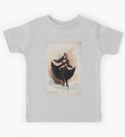 Performing Arts Posters Blond woman in black dress with roses holding up skirt 1562 Kids Tee