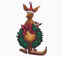 Kangaroo Christmas Silhouette Back Kids Tee