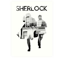 Monochrome Street Sherlock Art Print