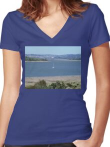 TAMAR  RIVER LAUNCESTON TASMANIA AUS* Women's Fitted V-Neck T-Shirt