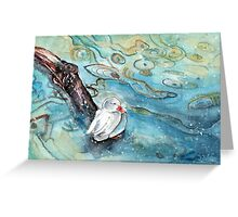 White Duck On Lake Constance In Winter Greeting Card