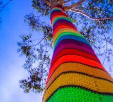Yarn Bombed Tree, Swanston Street, Melbourne Sticker