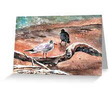 Birds On Lake Constance In Winter Greeting Card