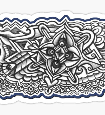 Abstract Dimensions (Black and White) Design 003 Sticker