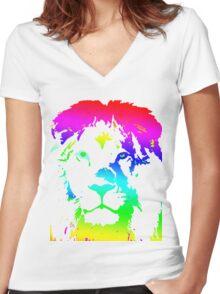 Chromatic Lion  Women's Fitted V-Neck T-Shirt