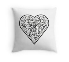 Ironwork heart black Throw Pillow