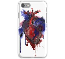Digital Anatomical Watercolor Heart (Black Version) iPhone Case/Skin