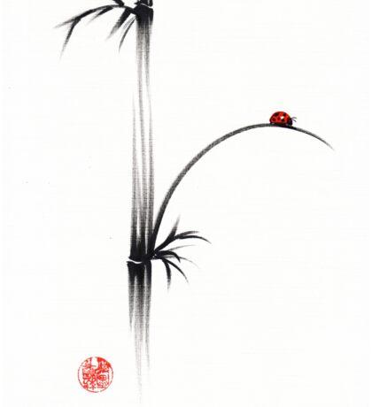 """""""Little Sunshine""""  Original ink brush pen ladybug bamboo painting Sticker"""